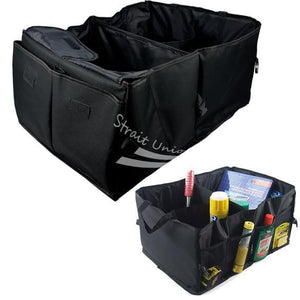 AutoCare Car Trunk Cargo Organizer Collapsible Bag Storage Black Folding in the Car Trunk