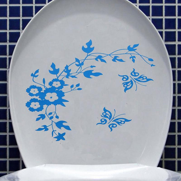 Beautiful Design Butterfly Flower Bathroom Wall Stickers Home Decoration Wall Decals For Toilet Decorative Sticker