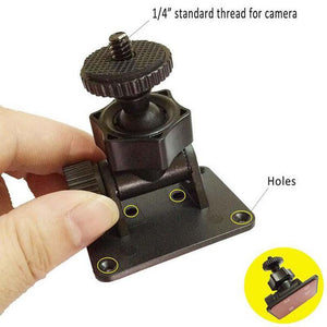 Black 360 Degree Rotating 1 4'' Screw Car Camera Mount 3M Sticker DVR Holders Bracket with Hole