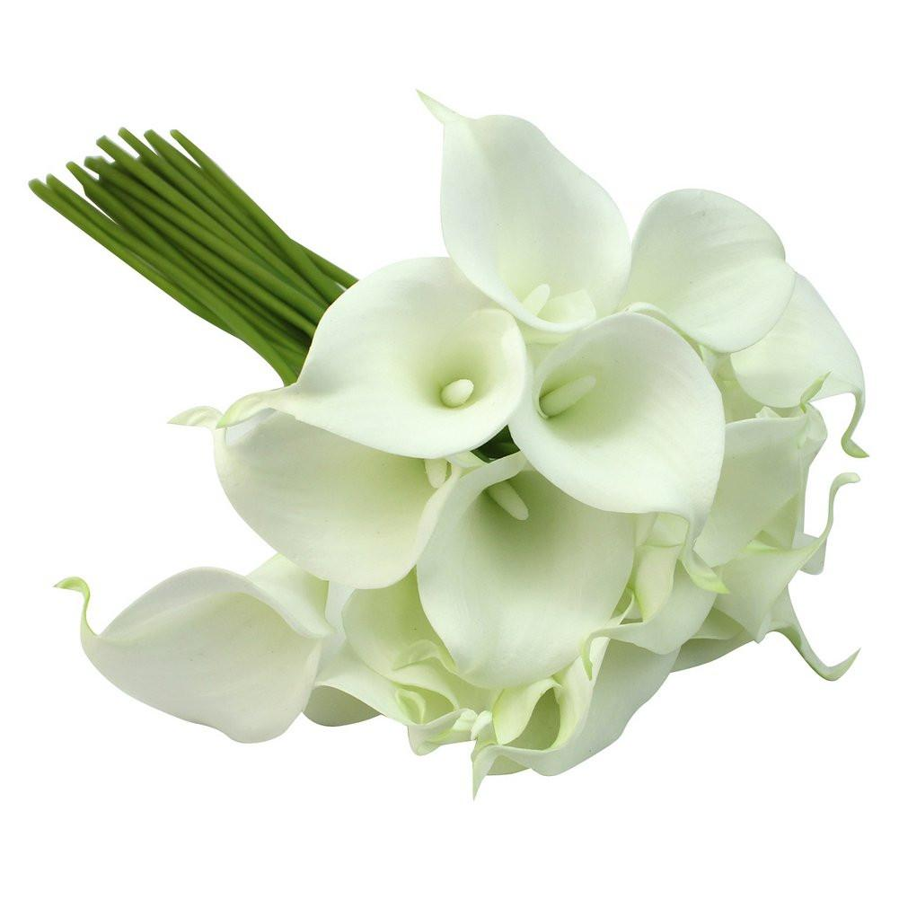 Calla Lily Bridal Wedding Party Decor Bouquet 20 heads Latex Touch Flower Bunch