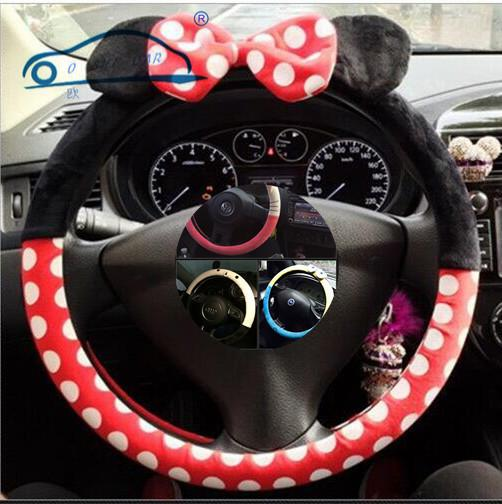 Car Styling Bow Car Steering Wheel Cover cute Cartoon Universal Interior Accessories comfortable and 9 designs