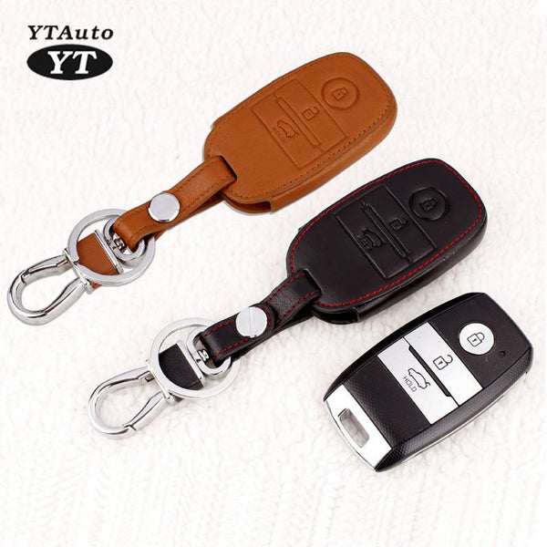 Carkey Cover Genual Leather Key Case For KIA Sorento 2015 Car Protect Shell For Smart Key YT-80415-2