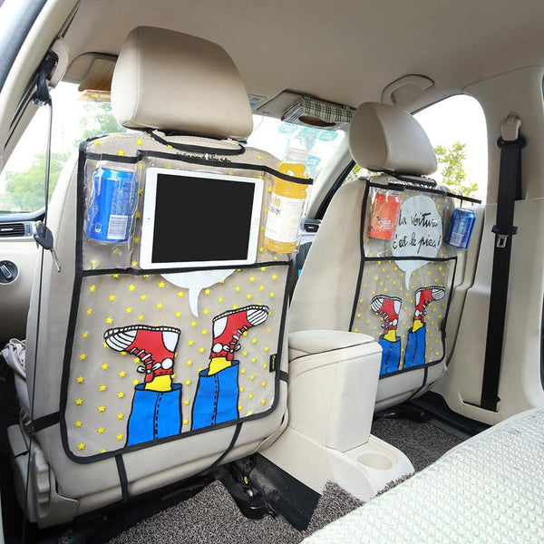 Catoon Shoes Styling Car Back Seat Protector Environmental Kicking Mat Seat Covers Storage Bag Organizer For Ipad 4 Air Pro Mini