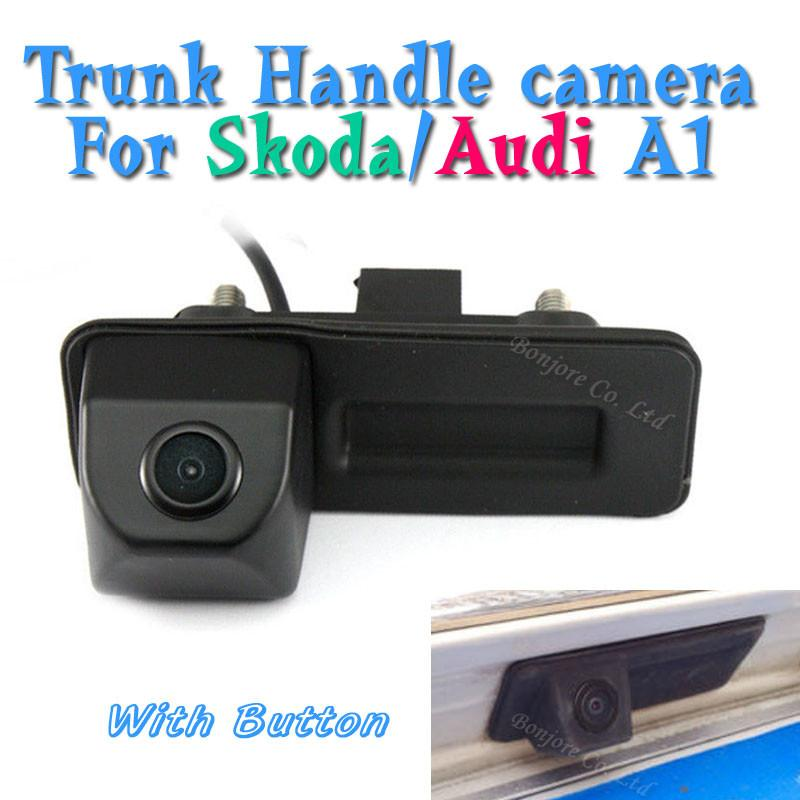 CCD Parking Trunk Handle Camera For Skoda Octavia Fabia Superb Roomster Yeti Audi A1 Car Rear View Backup Reversing With Button