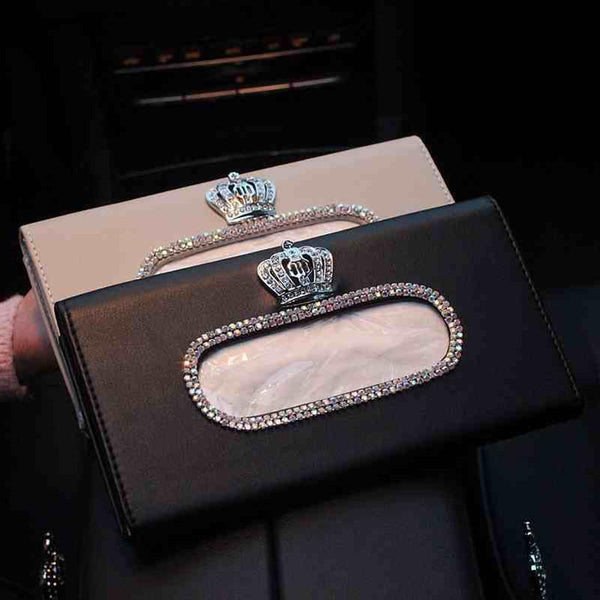 Crown Crystal Car Tissue Box Sun Visor PU Leather Auto Tissue Bag Sunvisor Hanging Holder Case Napkin For Car Accessories