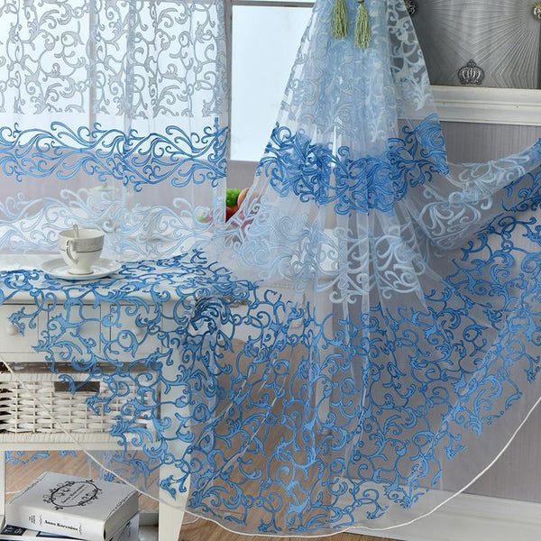 Flocking Floral Pattern Tulle Door Window Voile Curtains For Living Room Blackout Curtains 5 Colors