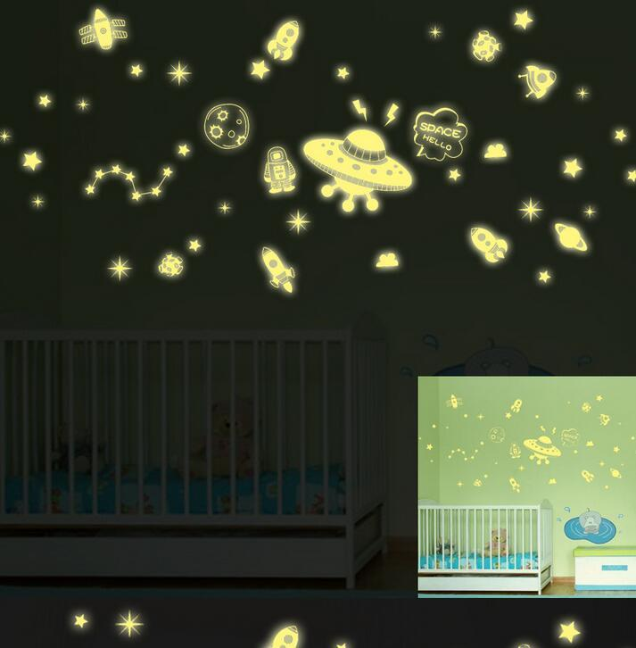Fluorescent stars glow in the dark home decor Luminous space Planets rocket UFO astronaut Wall Stickers for kids baby room