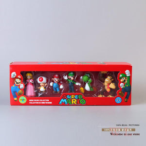 Super Mario Bros Peach Toad Mario Luigi Yoshi Donkey Kong PVC Action Figure Toys Dolls 6pcs set in Box SMFG218