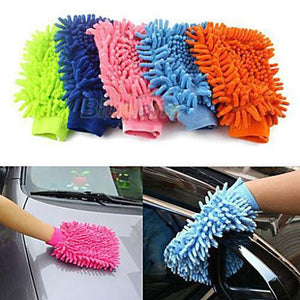 Washable Car Washing Cleaning Gloves Tool Car Washer Super Mitt Microfiber Cleaning Cloth Random color