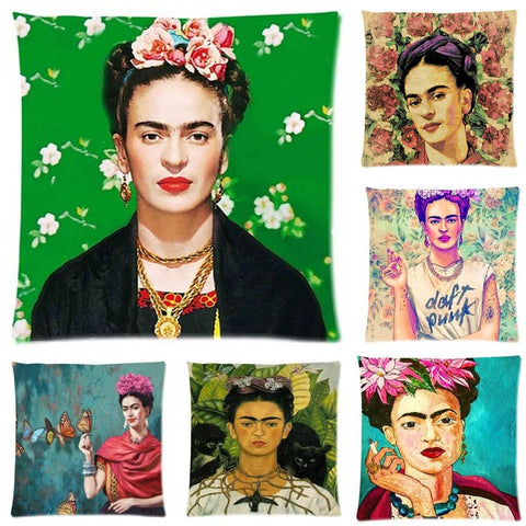 Frida Kahlo Cushion Cover Pillow Case Firm Flower self-portrait Sofa Butterfly Bedroom Home Decorative Throw Pillow Cover