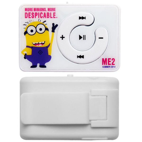 Glylezee Minions Clip MP3 Music Player with TF Card Slot with 5 Colors Mini Sports Running Cartoon Style Music Player