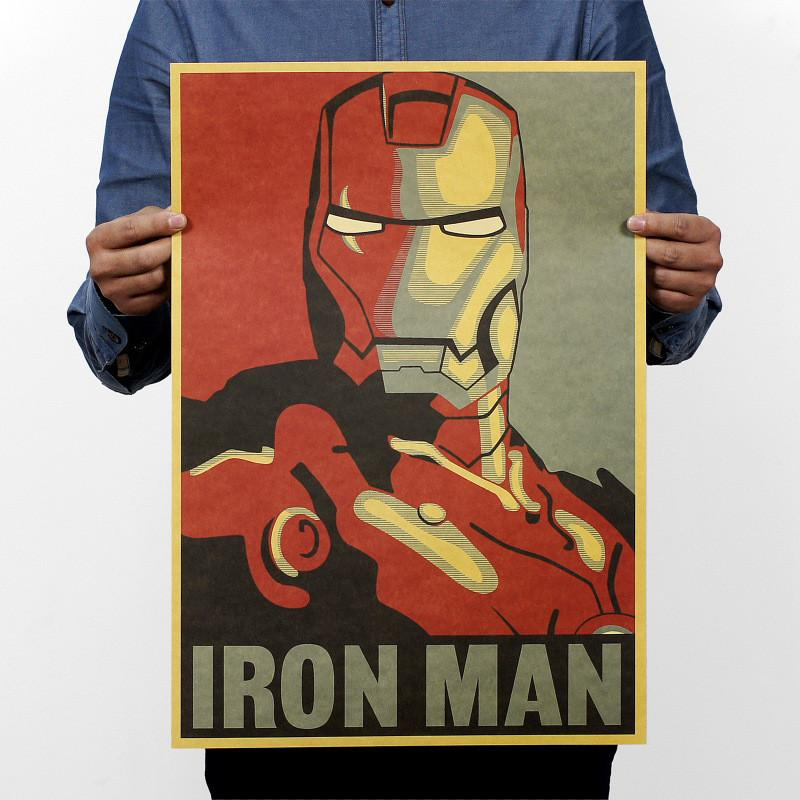 Iron Man Comic Avatar Poster Rock Poster Kraft Paper Bar Decorative Painting 51x35cm 150g Retro Paper