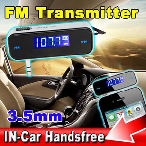 Mini Wireless 3.5mm FM Transmitter Hands In-car LCD 3.5mm Vehicle Car Kit Modulator MP3 Audio Music Player For Phone samsung