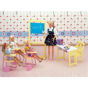 Miniature Classroom Furniture Mini Accessories for Barbie Doll House Classic Toys for Girl