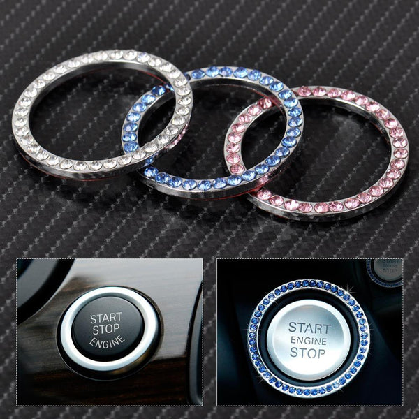 Car Interior One-Key Engine Start Stop Ignition Push Button Decorative Diamante Ring for Mercedes Benz BMW Audi A4 Cadillac
