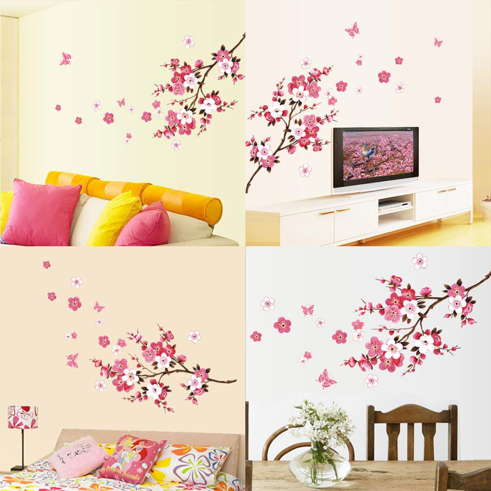 Peach Blossom Wall Poster Waterproof Background Sticker for Bedroom Cafe Wall Stickers Home Decor pegatinas de pared 45 X 60cm