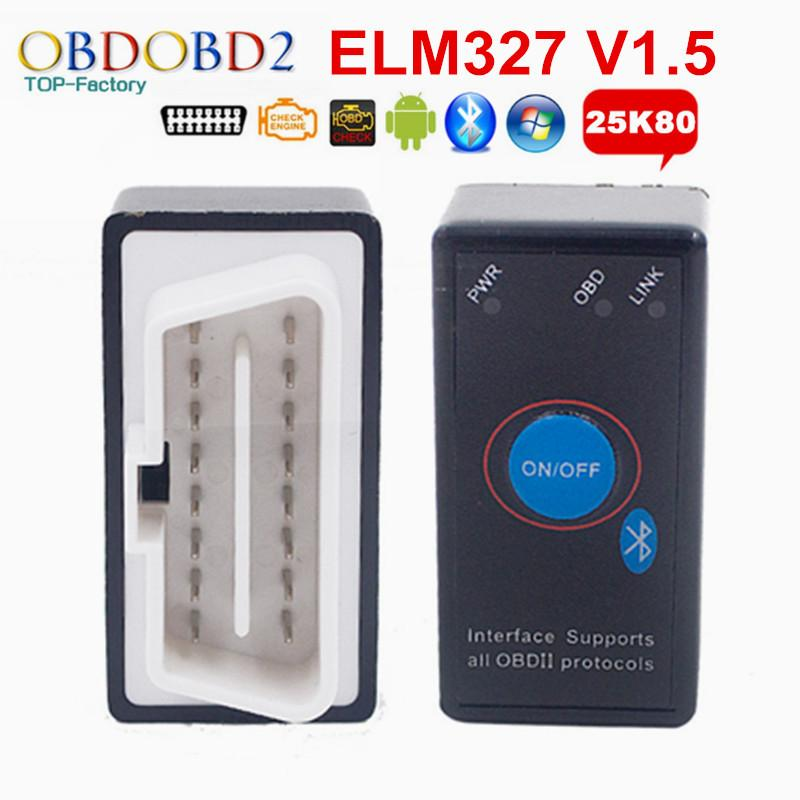 PIC18F25K80 ELM327 V1.5 ELM 327 Bluetooth Mini OBD2 Code Reader With Power Switch For Android Windows Car Diagnostic Scanner