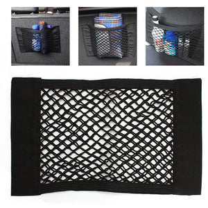 Strong Magic Tape Car Seat Back Storage Mesh Net Bag 40cm x 25cm Luggage Holder Pocket Sticker Trunk Organizer