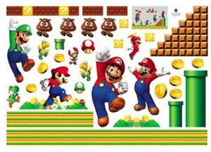 Super Mario Bros Mural Removable Wall Sticker DIY Vinyl Decal Kids Room Decor Cartoon Home Decor Wall Stickers