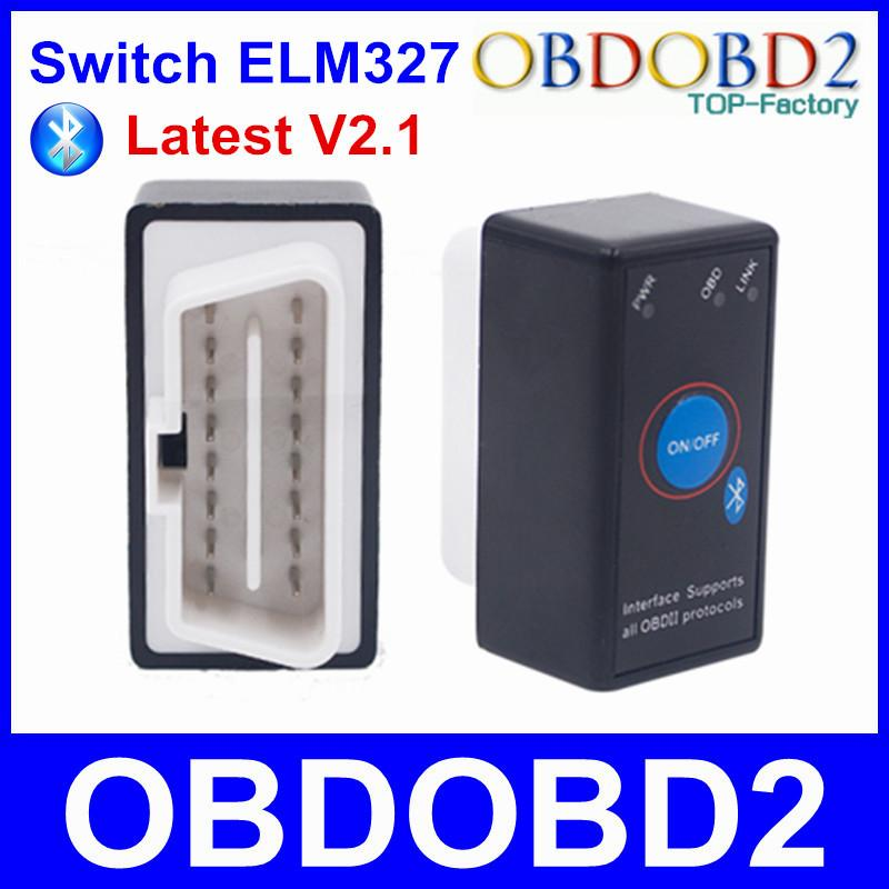 Super Mini ELM327 Bluetooth ELM 327 Power Switch V2.1 OBD2 OBDII Diagnostic Tool With Multi-Languages On Android Symbian Windows