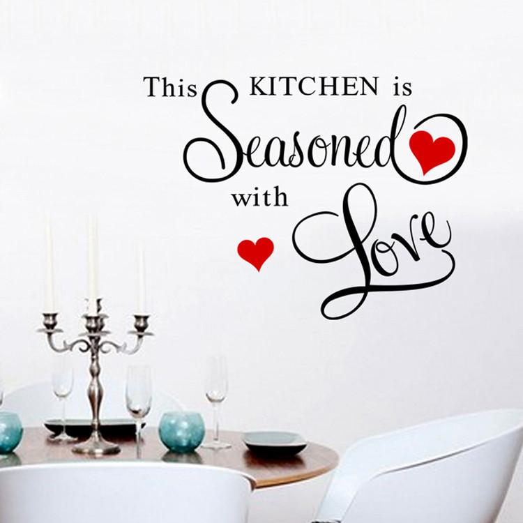 This Kitchen Is Seasoned With Red Love Wall Art Decal Home Decoration Living Room Decorative Stickers