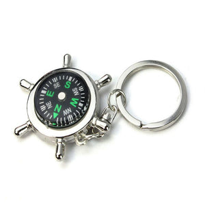 Vehicle Car-styling Portable Alloy Silver Nautical Compass Helm Keychain Ring Chain