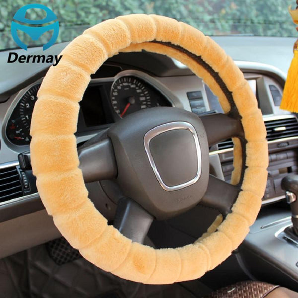 "Winter Warm Imitation FUR STEERING WHEEL COVER For Car Steering Wheel 14-15"" 38CM 95% Cars Non-slip"
