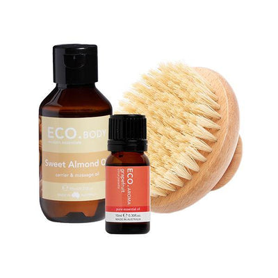 Grapefruit Pure Essential Oil, Sweet Almond Carrier Oil & Dry Body Brush Collection