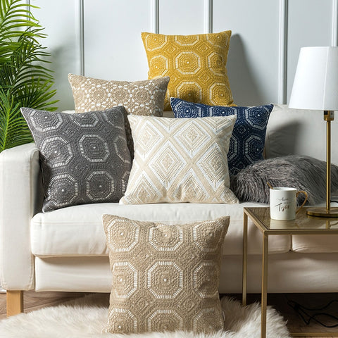 Geometric Embroidered Cushion Cover - fenston-white