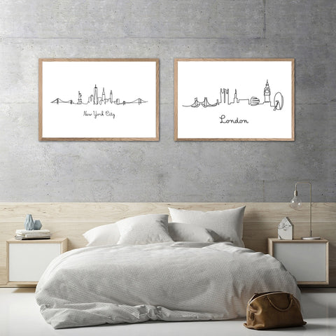 London & New York Line Drawing Canvas - fenston-white
