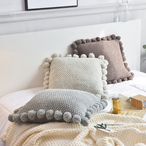 Ball Edged Knitted Cushion Cover - fenston-white
