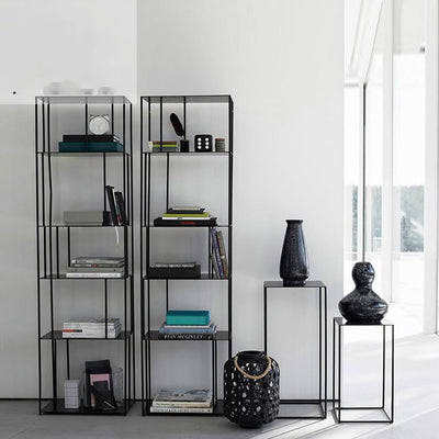 Black Simple Metal Shelves - fenston-white