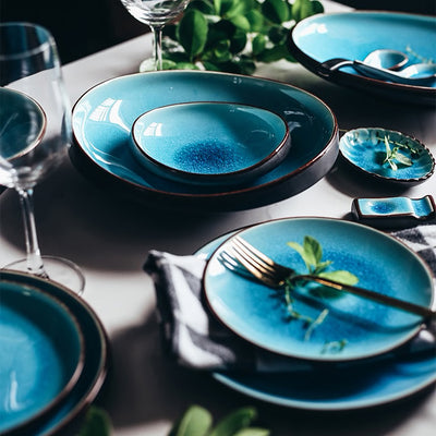 Cracked ocean dinner plate set (6Pcs) - fenston-white