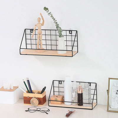 Rustic metal grid shelf - fenston-white