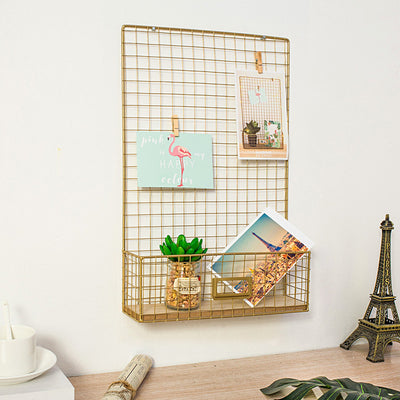 Wall mounted gold hanging grid with shelf - fenston-white