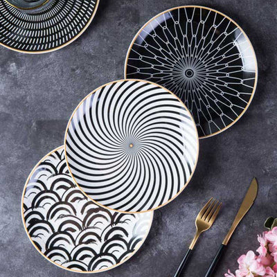 Geometric ceramic dinner plates (6pcs 10 Inch) - fenston-white