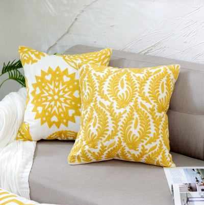 Yellow embroidered cushion cover - fenston-white