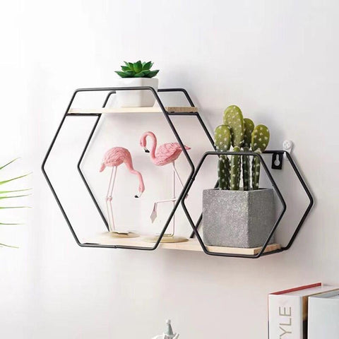 Hexagon Iron Shelf Combination - fenston-white