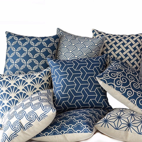Blue Geometric Cushion Cover - fenston-white
