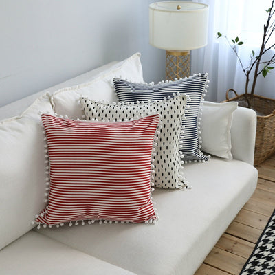Nordic Cushion Cover with Ball Edge - fenston-white