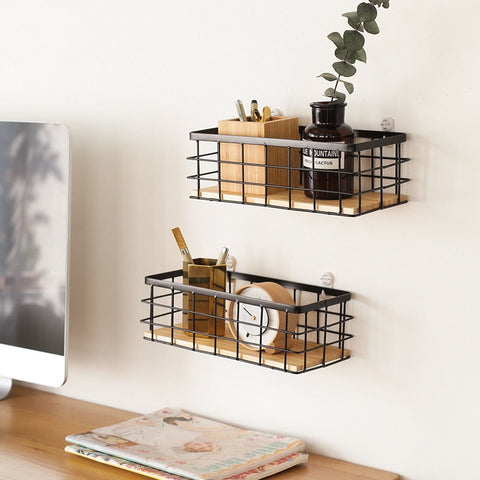 Iron Basket Storage Shelf - fenston-white