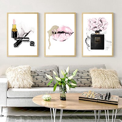 Lips, Perfume & Lipstick Wall Canvas - fenston-white