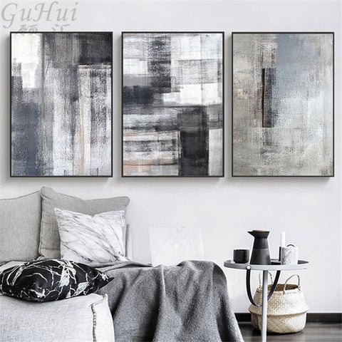Grey & Black Block Landscape Canvas - fenston-white