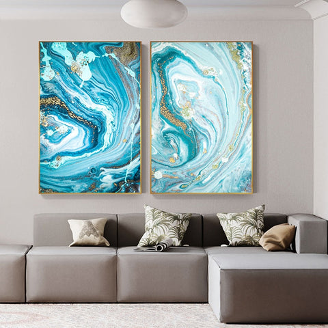 Modern Gold Swirl Canvas - fenston-white