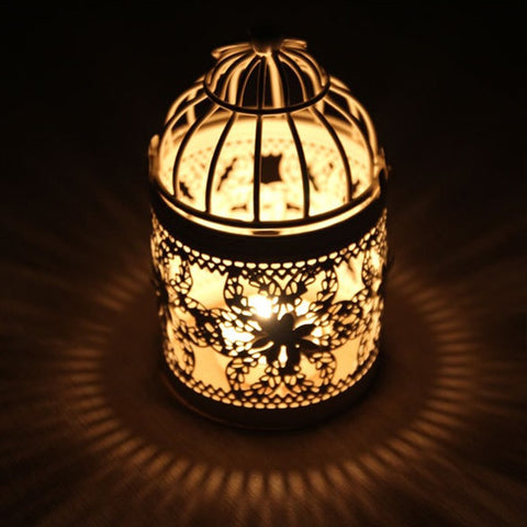 Decorative Moroccan Candle Lantern - fenston-white