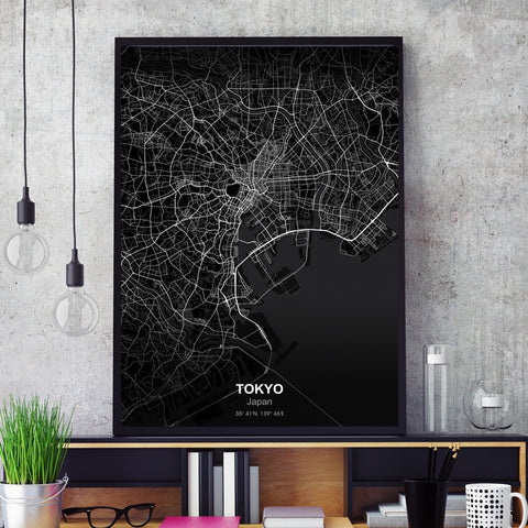 Major City Wall Map Canvas - fenston-white