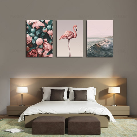 Pink - Flamingo, Rose Sea, & Wave Canvas Set - fenston-white