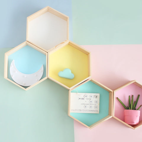Honeycomb (Nordic) Kids Wooden Decoration Shelf - fenston-white