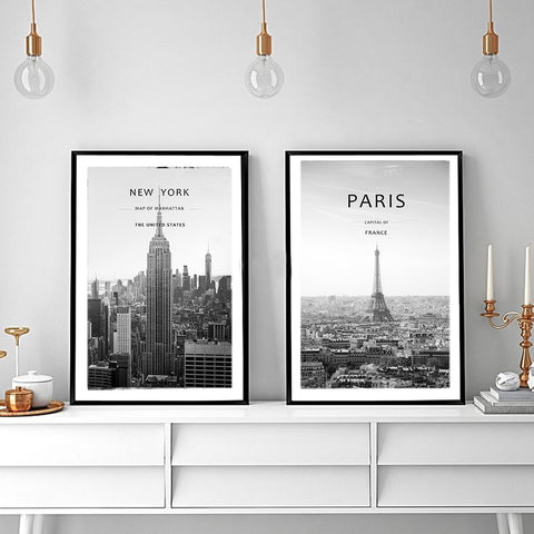 New York & Paris Black and White Retro Canvas - fenston-white