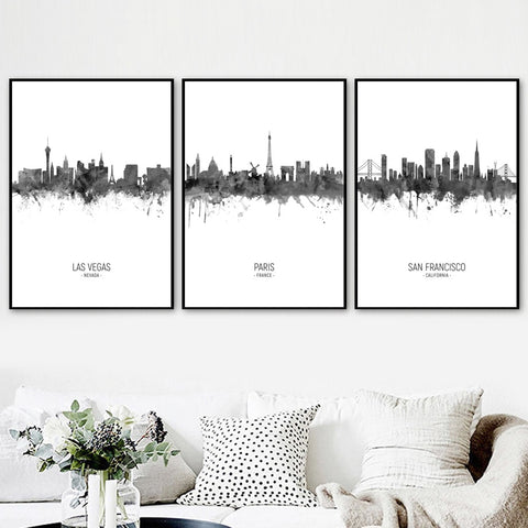 Abstract Ink City Outlines - fenston-white